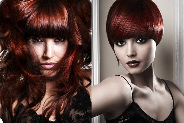 Цвет волос темно красный